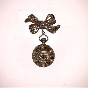 Vintage Gold Bow Brooch with Hanging Locket